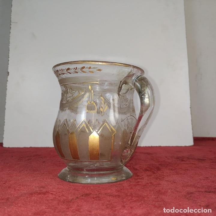 Antigüedades: TAZA. CRISTAL DE LA GRANJA. ESMALTE EN ORO. GRABADO AL ACIDO. ESPAÑA. SIGLO XVIII - Foto 4 - 187309627