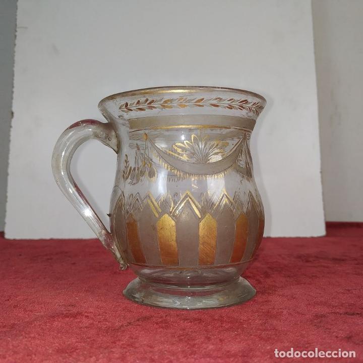 Antigüedades: TAZA. CRISTAL DE LA GRANJA. ESMALTE EN ORO. GRABADO AL ACIDO. ESPAÑA. SIGLO XVIII - Foto 7 - 187309627