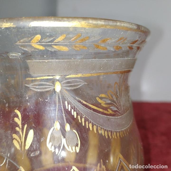 Antigüedades: TAZA. CRISTAL DE LA GRANJA. ESMALTE EN ORO. GRABADO AL ACIDO. ESPAÑA. SIGLO XVIII - Foto 15 - 187309627