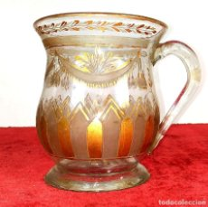 Antigüedades: TAZA. CRISTAL DE LA GRANJA. ESMALTE EN ORO. GRABADO AL ACIDO. ESPAÑA. SIGLO XVIII. Lote 187309627