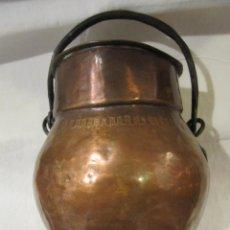 Antigüedades: ANTIGUO PUCHERO - ORZA CON TAPA DE COBRE SIGLO XIX. Lote 187369842