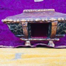 Antigüedades: PEANA RELICARIO MADERA DORADA Y POLICROMADA. Lote 187399317