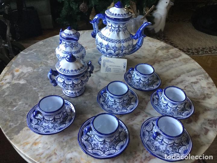 ANTIGUO JUEGO DE CAFÉ TALAVERA, AÑOS 60 (Antigüedades - Porcelanas y Cerámicas - Talavera)