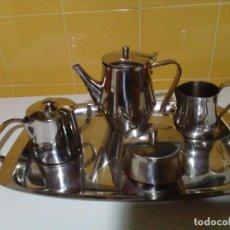 Antigüedades: JUEGO DE CAFE Y TE DE ACERO INOXIDABLE. Lote 187457180