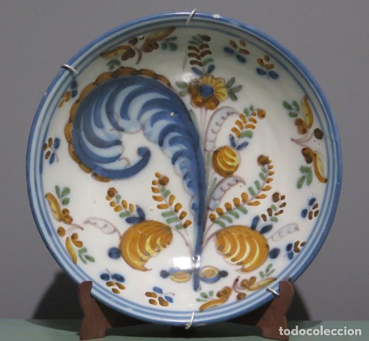 ANTIGUO PLATO DE CERAMICA DE TALAVERA. COLA DE GALLO. SIGLO XVIII (Antigüedades - Porcelanas y Cerámicas - Talavera)