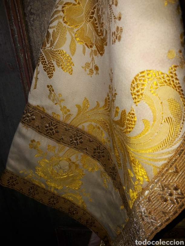 Antigüedades: Dalmática seda bordado em fio metal dourado - Foto 3 - 187461260