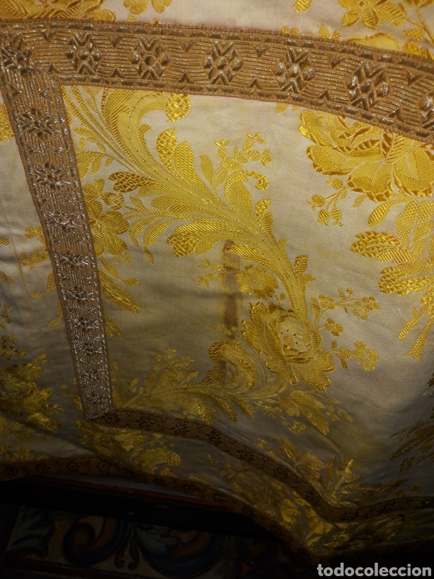 Antigüedades: Dalmática seda bordado em fio metal dourado - Foto 4 - 187461260