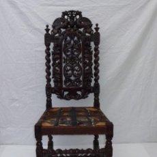 Antigüedades: ANTIGUA SILLA EN MADERA DE ROBLE TALLADA A MANO.PARA TAPIZAR.. Lote 187467233
