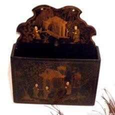 Antigüedades: ANTIGUA LACA CHINA, PORTA CARTAS, CHINOISERIE XIX, LACA PAPEL MACHÉ, LACA NEGRA CHINA. Lote 187492571