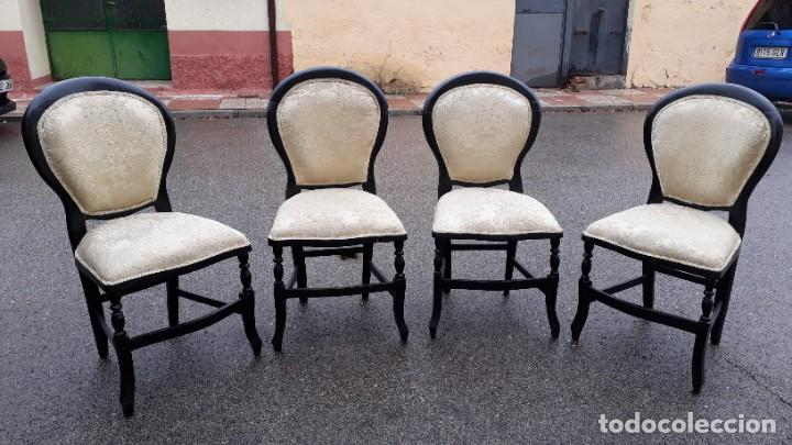 Antigüedades: Sofá antiguo estilo isabelino tapizado capitoné. Tresillo antiguo madera ebonizada estilo Luis XV. - Foto 15 - 184617858