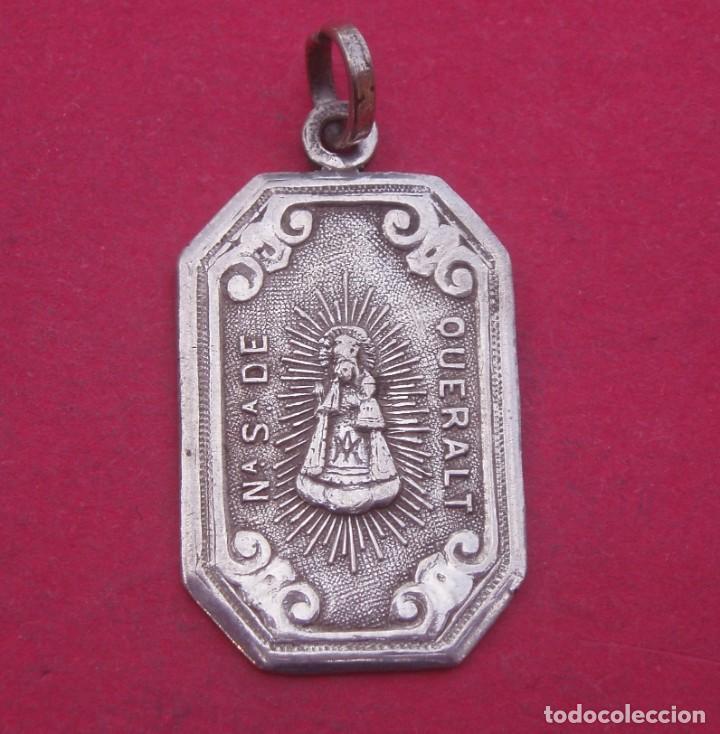MEDALLA ANTIGUA EN PLATA VIRGEN DE QUERALT. BERGA. (Antigüedades - Religiosas - Medallas Antiguas)