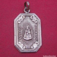 Antigüedades: MEDALLA ANTIGUA EN PLATA VIRGEN DE QUERALT. BERGA.. Lote 187528456