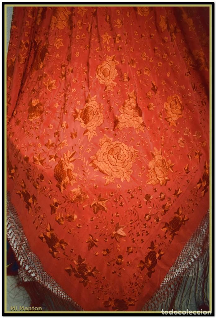 Antigüedades: Mi Manton. Manton de manila rojo seda bordado a mano - Foto 6 - 187531080