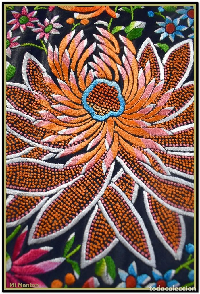 Antigüedades: Maravilloso manton de manila , espectacular bordado muy especial - Foto 2 - 187535422