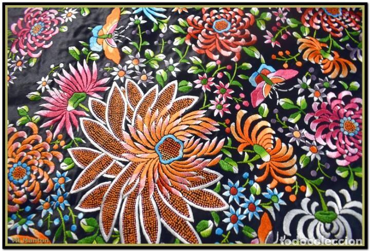 Antigüedades: Maravilloso manton de manila , espectacular bordado muy especial - Foto 3 - 187535422