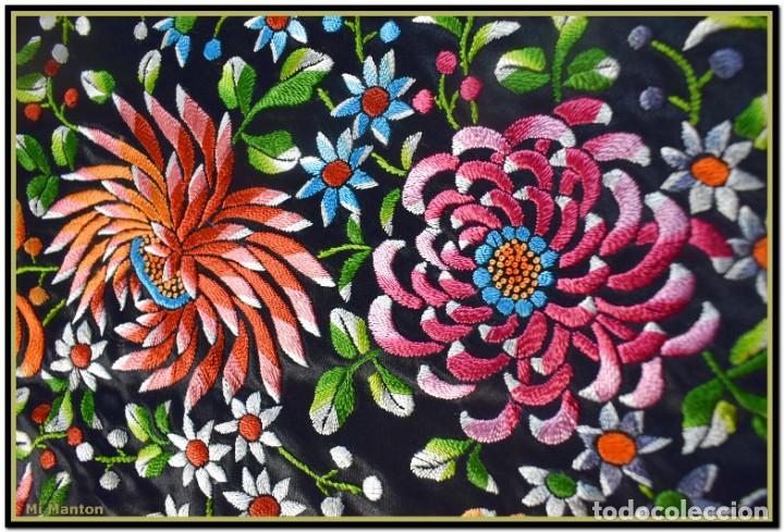 Antigüedades: Maravilloso manton de manila , espectacular bordado muy especial - Foto 4 - 187535422