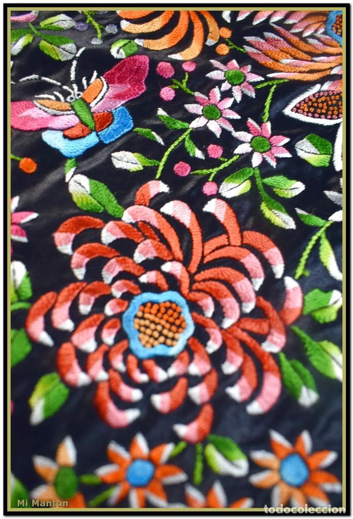 Antigüedades: Maravilloso manton de manila , espectacular bordado muy especial - Foto 5 - 187535422
