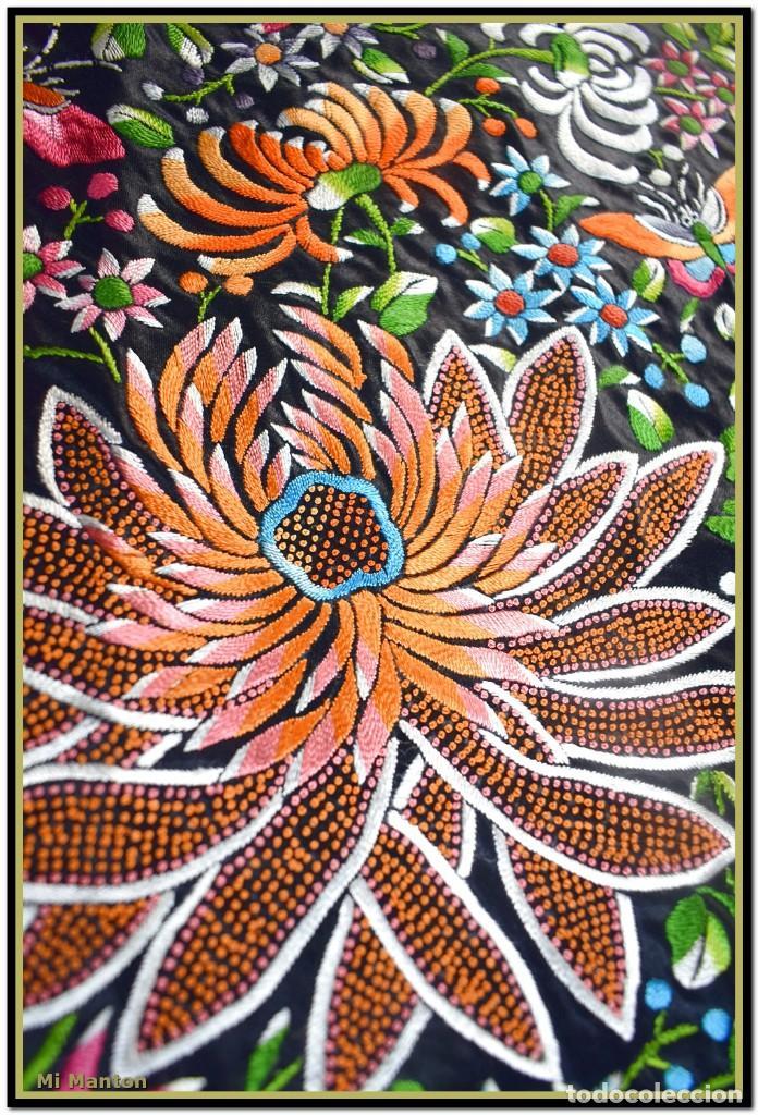 Antigüedades: Maravilloso manton de manila , espectacular bordado muy especial - Foto 6 - 187535422