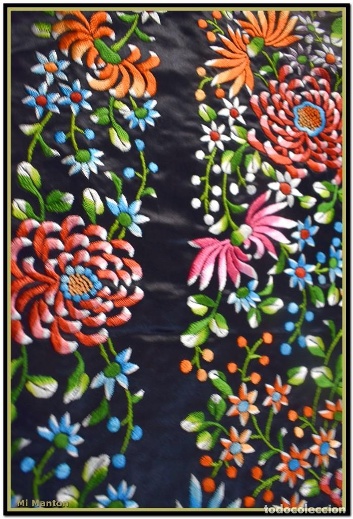 Antigüedades: Maravilloso manton de manila , espectacular bordado muy especial - Foto 7 - 187535422