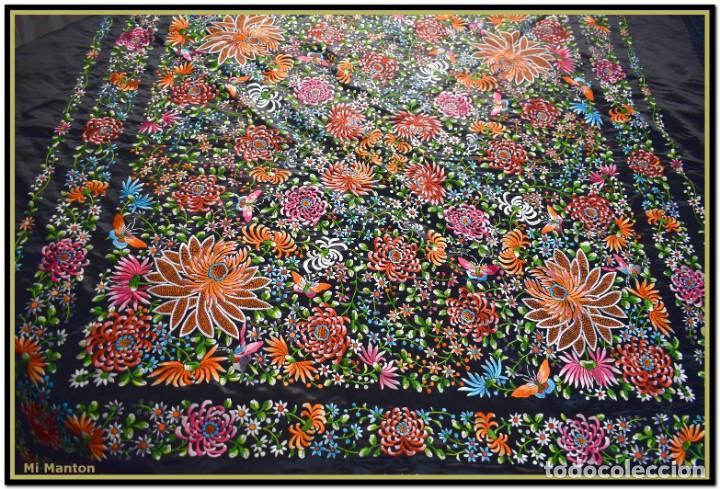 Antigüedades: Maravilloso manton de manila , espectacular bordado muy especial - Foto 8 - 187535422