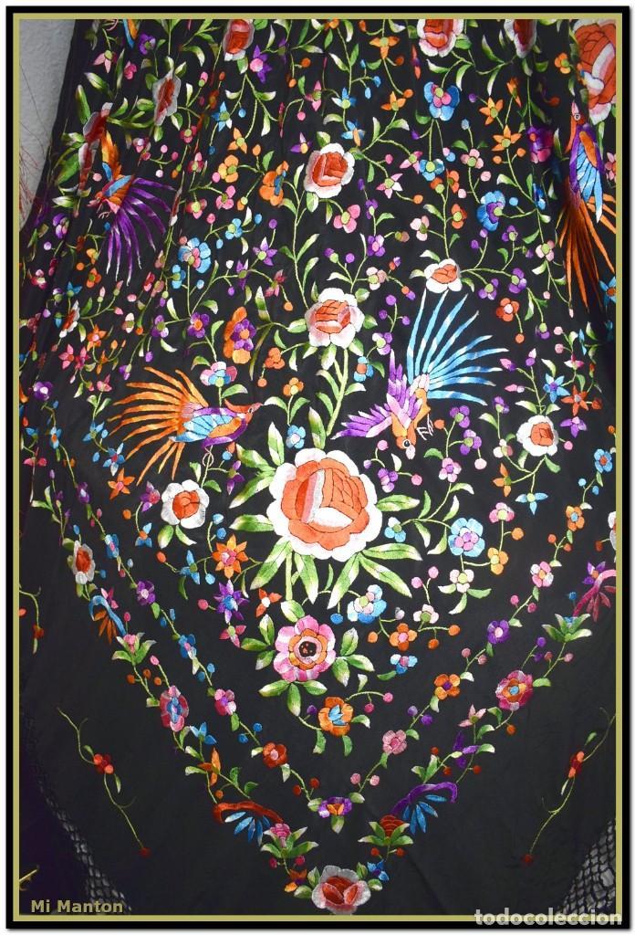 Antigüedades: manton de manill seda bordada a mano aves y flores - Foto 2 - 187541898