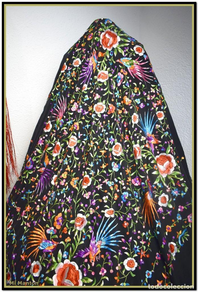 Antigüedades: manton de manill seda bordada a mano aves y flores - Foto 4 - 187541898