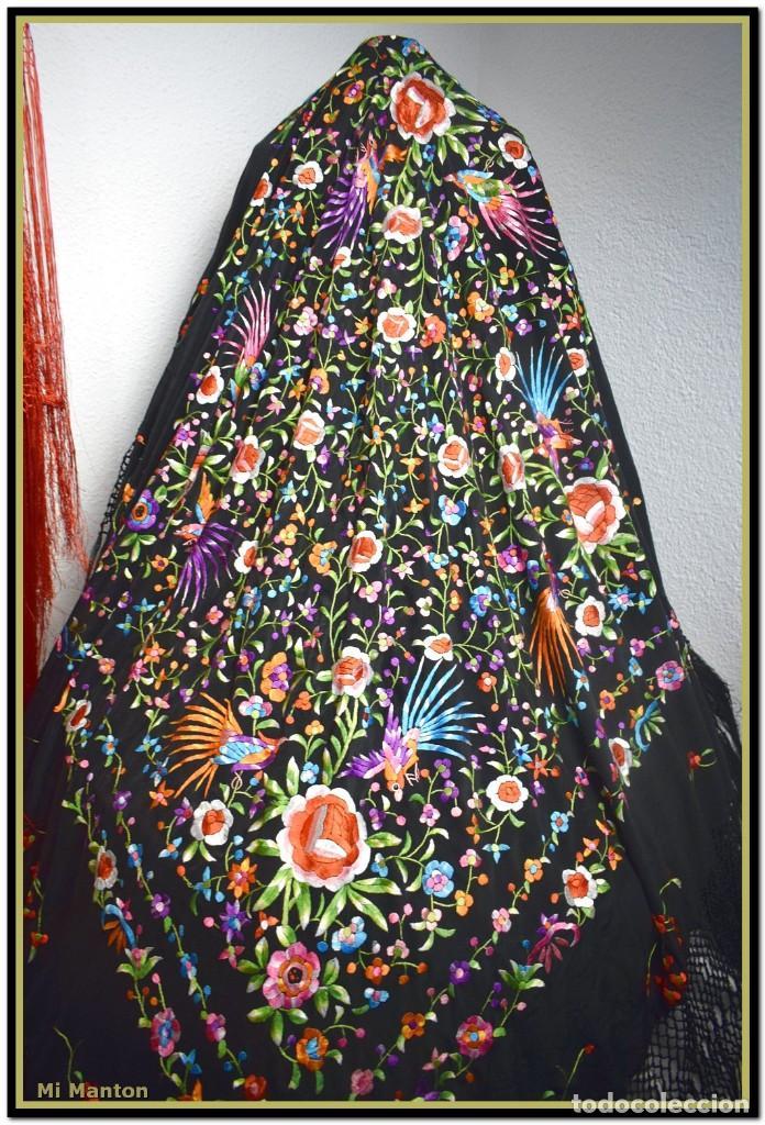 Antigüedades: manton de manill seda bordada a mano aves y flores - Foto 5 - 187541898