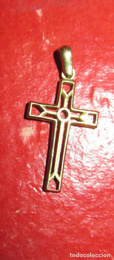 CRUZ CALADA DE ORO (Antigüedades - Religiosas - Cruces Antiguas)