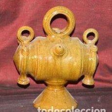 Antigüedades: BOTIJO EN CERÁMICA ESMALTADA Y VIDRIADA. FORMA DE TONEL. ESPAÑA. SIGLO XX. . Lote 187582220