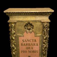 Antigüedades: IMPRESIONANTE COLUMNA, MÉNSULA,ALTAR, PEDESTAL DE SANTA BÁRBARA, PIEZA BARROCA.SIGLO XVIII.144X95X60. Lote 187496191