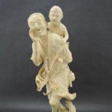 Antigüedades: MARFIL TALLADO JAPONES ANCIANO CON NIÑO, ANTIGUO, SIGLO XIX. Lote 187609155