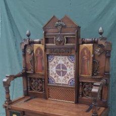 Antiquités: BANCO DE MADERA Y METAL. Lote 187720368