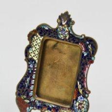 Antigüedades: MARCO PORTARETRATOS DE BRONCE ESMALTADO EN CLOISONNE. . Lote 187907186