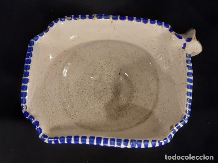 Antigüedades: Salsera de cerámica esmaltada. Azul sobre blanco. Delft. Holanda. Siglo XIX. - Foto 5 - 187933430
