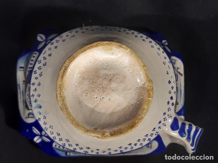 Antigüedades: Salsera de cerámica esmaltada. Azul sobre blanco. Delft. Holanda. Siglo XIX. - Foto 6 - 187933430