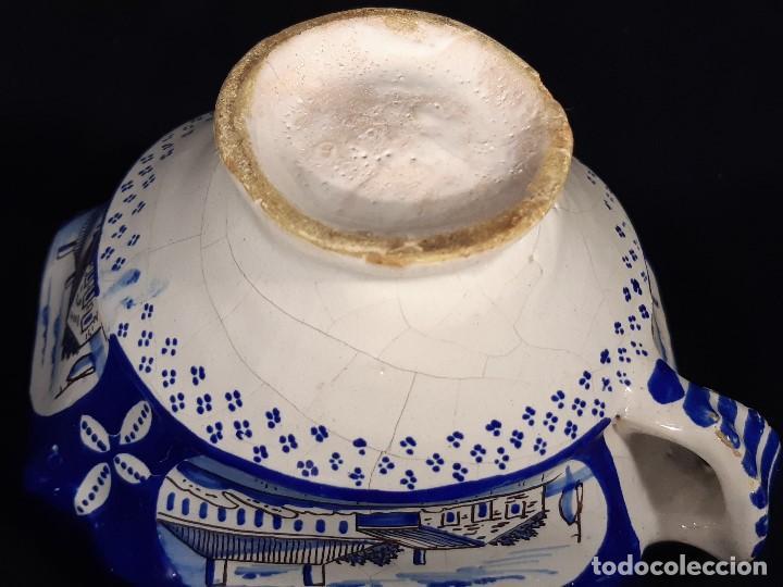 Antigüedades: Salsera de cerámica esmaltada. Azul sobre blanco. Delft. Holanda. Siglo XIX. - Foto 7 - 187933430