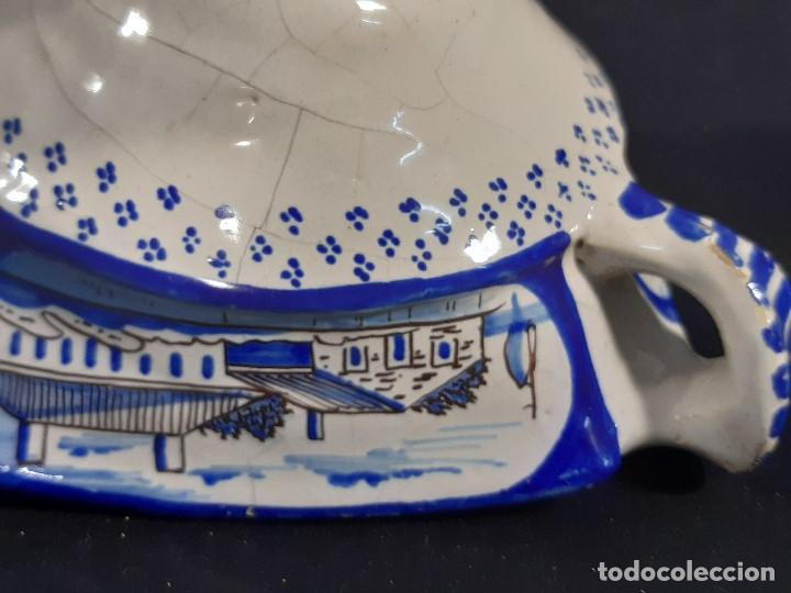 Antigüedades: Salsera de cerámica esmaltada. Azul sobre blanco. Delft. Holanda. Siglo XIX. - Foto 8 - 187933430