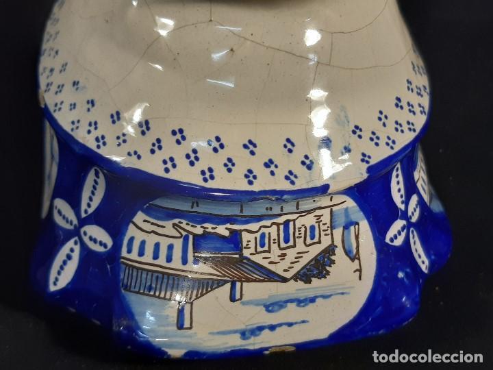 Antigüedades: Salsera de cerámica esmaltada. Azul sobre blanco. Delft. Holanda. Siglo XIX. - Foto 10 - 187933430