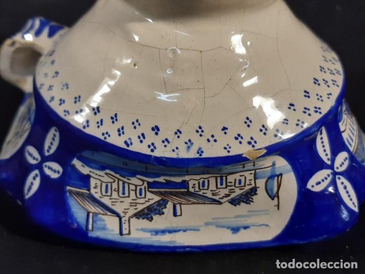 Antigüedades: Salsera de cerámica esmaltada. Azul sobre blanco. Delft. Holanda. Siglo XIX. - Foto 11 - 187933430