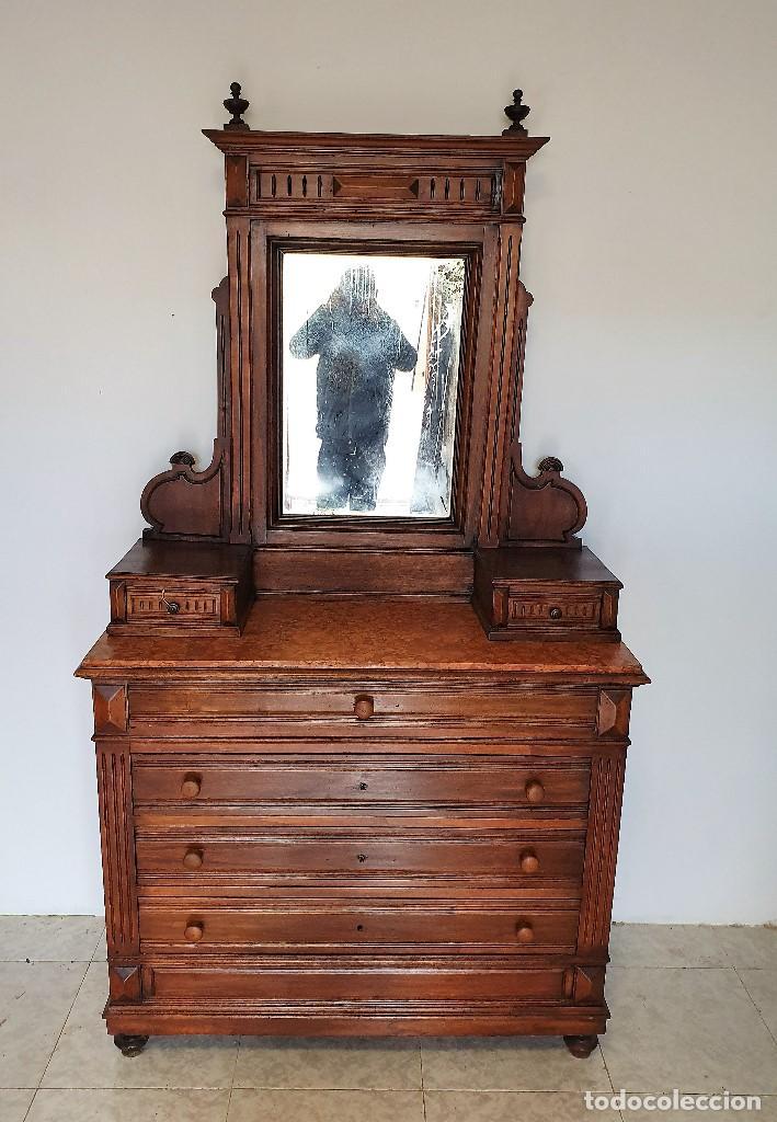 Antigüedades: ANTIGUA COMODA CON ALTILLO ESPEJO - Foto 2 - 188418043