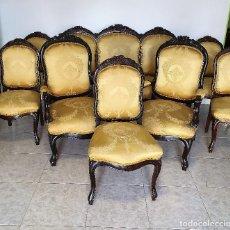 Antigüedades: CONJUNTO DE SOFA, SILLONES Y 4 SILLAS EN MADERA DE CAOBA. Lote 188419338