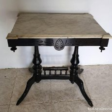 Antigüedades: ANTIGUA MESA AUXILIAR CON MARMOL. Lote 188420505