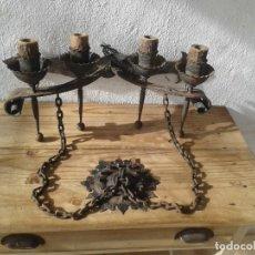 Antigüedades: ANTIGUO APLIQUE LAMPARA HIERRO FORJA CASTILLO. Lote 188429500
