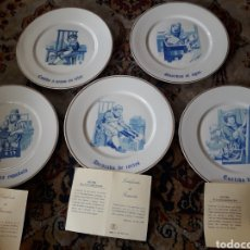 Antigüedades: 5 PLATOS, PORCELANA DE ALGORA, SERIE NUMERADA Y LIMITADA. Lote 188471012