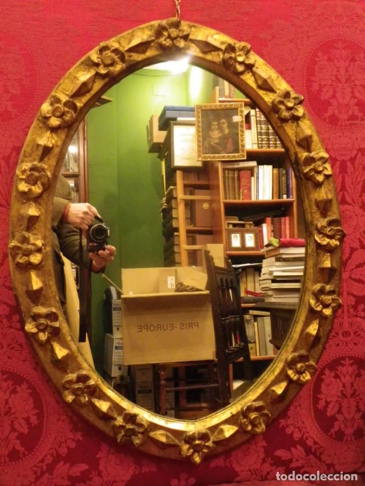 Antigüedades: Espejo dorado ovalado 1 siglo antigüedad. - Foto 2 - 39052756