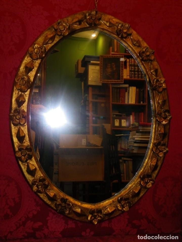 Antigüedades: Espejo dorado ovalado 1 siglo antigüedad. - Foto 6 - 39052756