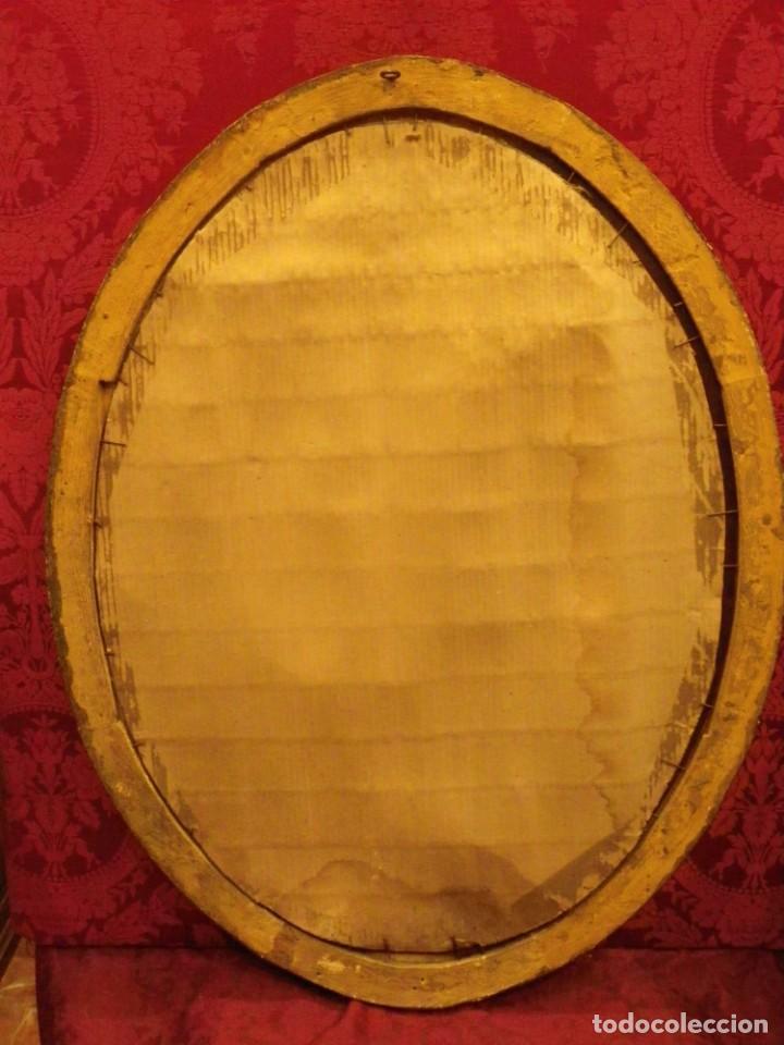 Antigüedades: Espejo dorado ovalado 1 siglo antigüedad. - Foto 11 - 39052756