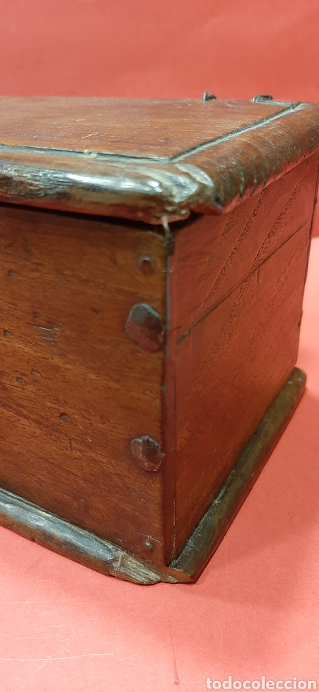 Antigüedades: PEQUEÑA ARQUETA DE ROBLE. SIGLO XVII. - Foto 3 - 188506967