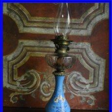 Antigüedades: QUINQUE ANTIGUO DE PORCELANA COMPLETO PRECIOSO HINKS & SONS. Lote 188515951