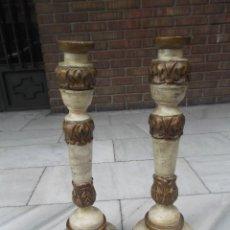 Antigüedades: CANDELABROS DE MADERA POLICROMADA. Lote 188537177